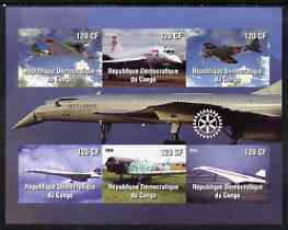 Congo 2004 Aircraft (incl BA Concorde) imperf sheetlet containing 6 values, with Rotary Logo unmounted mint