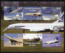 Congo 2004 Aircraft (incl Air France Concorde) imperf sheetlet containing 6 values, with Rotary Logo unmounted mint, stamps on aviation, stamps on concorde, stamps on rotary