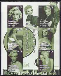 Congo 2004 Marilyn Monroe #2 (green background) imperf sheetlet containing 6 values, unmounted mint