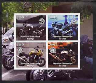 Congo 2003 Modern Motorcycles #1 imperf sheetlet containing 4 values each with Rotary Logo, unmounted mint