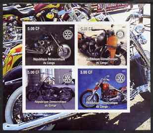 Congo 2003 Modern Motorcycles #2 imperf sheetlet containing 4 values each with Rotary Logo, unmounted mint