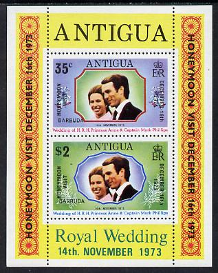Barbuda 1973 Royal Wedding m/sheet opt'd Honeymoon Visit unmounted mint, SG MS 138