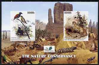 Benin 2003 The Nature Conservancy imperf m/sheet containing 2 x 1000f values (birds & cats by John Audubon) unmounted mint