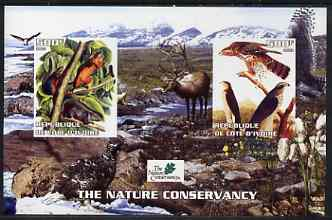 Ivory Coast 2003 The Nature Conservancy imperf m/sheet containing 2 x 500f values (mammals & birds by John Audubon) unmounted mint