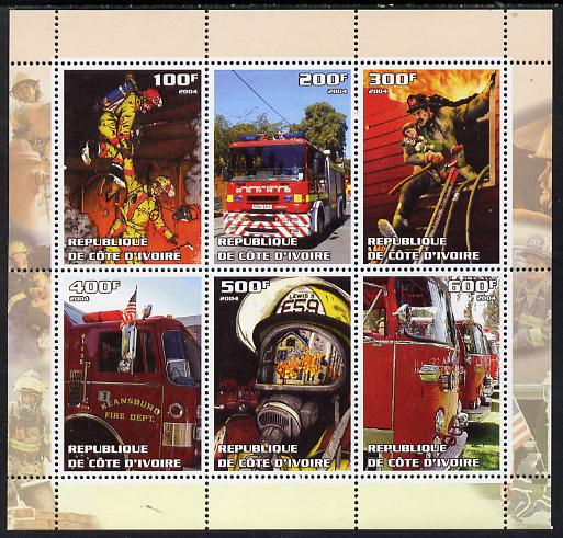 Ivory Coast 2004 Fire Engines perf sheetlet containing set of 6 values unmounted mint