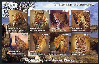 Ivory Coast 2003 The Nature Conservancy imperf sheetlet containing set of 8 values (big cats) unmounted mint