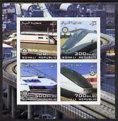 Somalia 2003 Modern Trains imperf sheetlet containing 4 values each with Rotary Logo, unmounted mint