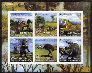 Somalia 2003 Dinosaurs imperf sheetlet containing 6 values each with Rotary Logo, unmounted mint