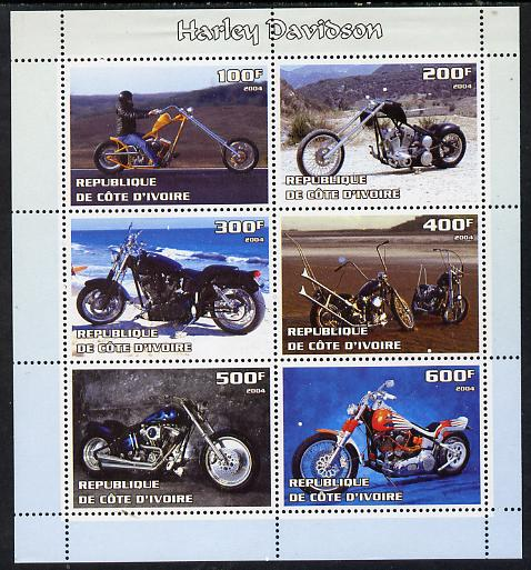 Ivory Coast 2004 Harley Davidson Motorcycles perf sheetlet containing set of 6 values unmounted mint