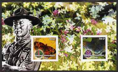 Congo 2004 Butterflies #1 imperf sheetlet containing 2 values with Baden Powell in background, unmounted mint