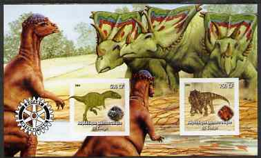 Congo 2004 Dinosaurs imperf sheetlet containing 2 values with Rotary Logo unmounted mint