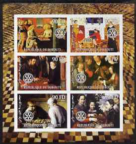 Djibouti 2004 Chess (Featured in old Paintings) imperf sheetlet containing 6 values each with Rotary Logo, unmounted mint, stamps on chess, stamps on arts