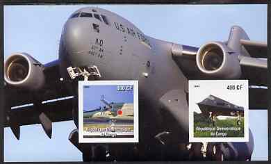 Congo 2003 Modern Aircraft imperf m/sheet containing 2 values unmounted mint