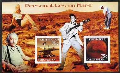 Kyrgyzstan 2003 Personalities on Mars imperf m/sheet containing 2 values unmounted mint (Shows Elvis, Marilyn, Einstein & Tiger Woods)