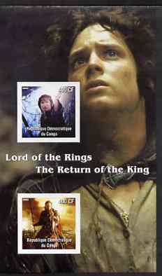 Congo 2003 Lord of the Rings - The Return of the King imperf m/sheet containing 2 values unmounted mint