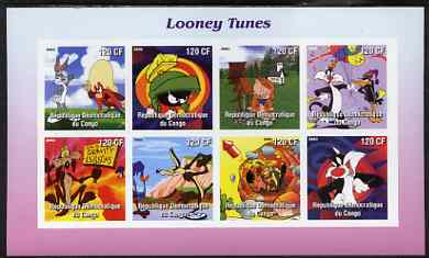 Congo 2003 Looney Tunes #2 imperf sheetlet containing 8 values unmounted mint