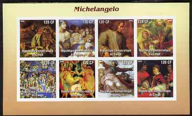 Congo 2003 Paintings by Michelangelo imperf sheetlet containing 8 values unmounted mint