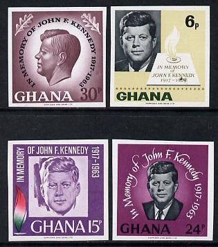Ghana 1965 Kennedy imperf set of 4 unmounted mint as SG 403-6