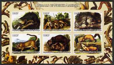 Congo 2005 Audubon Animals of North America imperf sheetlet containing 6 values unmounted mint