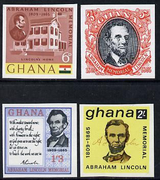 Ghana 1965 Death Centenary of Abraham Lincoln imperf set of 4 unmounted mint as SG 373-76