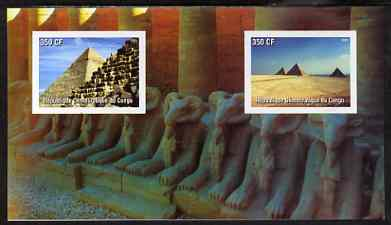 Congo 2003 Pyramids of Egypt imperf souvenir sheet containing 2 values, unmounted mint