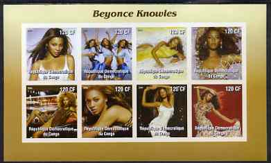 Congo 2004 Beyonce Knowles imperf sheetlet containing 8 values, unmounted mint