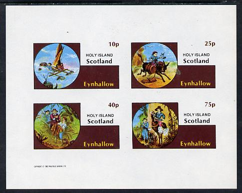 Eynhallow 1982 Fairy Tales (Adventures in the Jungle) imperf sheetlet containing set of 4 values unmounted mint