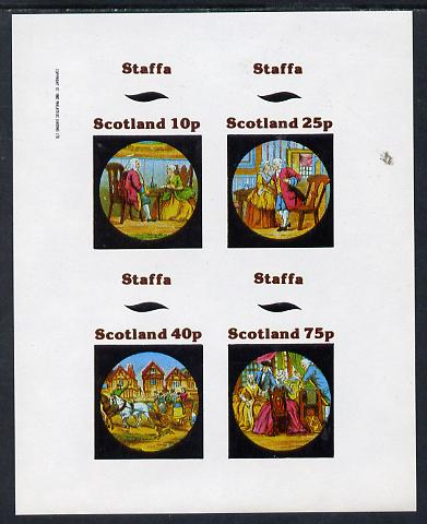 Staffa 1982 Fairy Tales (High Society) imperf sheetlet containing set of 4 values unmounted mint, stamps on fairy tales, stamps on literature, stamps on children, stamps on horses