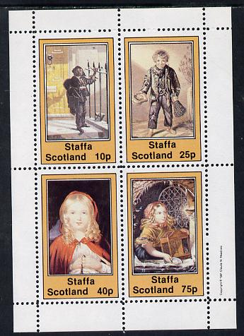 Staffa 1981 Dickensian Children perf sheetlet containing set of 4 values unmounted mint
