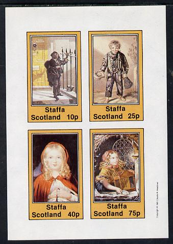 Staffa 1981 Dickensian Children imperf sheetlet containing set of 4 values unmounted mint