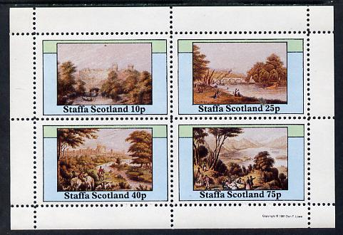 Staffa 1981 Paintings of English Country Life perf sheetlet containing set of 4 values unmounted mint