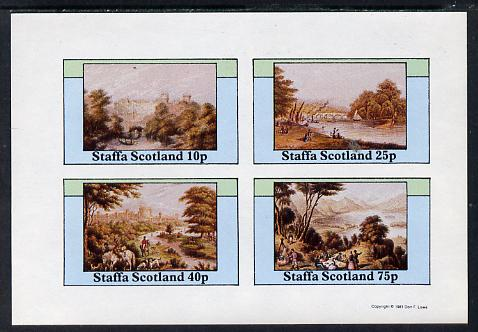 Staffa 1981 Paintings of English Country Life imperf sheetlet containing set of 4 values unmounted mint