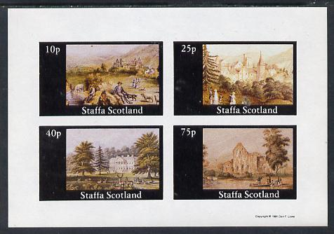 Staffa 1981 Paintings of English Country Life #2 imperf sheetlet containing set of 4 values unmounted mint