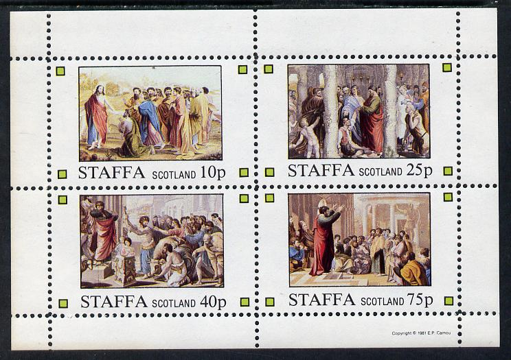 Staffa 1981 Bible Stories perf sheetlet containing set of 4 values unmounted mint