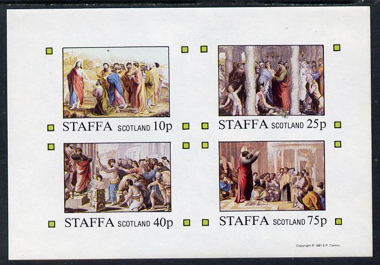 Staffa 1981 Bible Stories imperf sheetlet containing set of 4 values unmounted mint