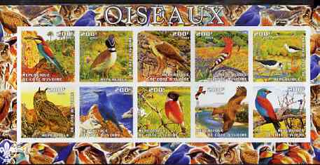 Ivory Coast 2003 Birds imperf sheetlet containing 10 values, Scout logo in margin, unmounted mint