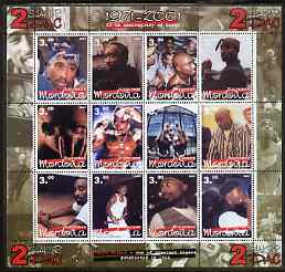 Mordovia Republic 2001 Tupac Shakur (Rap Artist) perf sheetlet containing set of 12 values unmounted mint