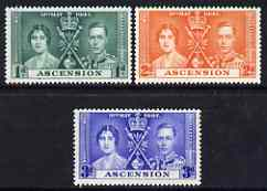Ascension 1937 KG6 Coronation perf set of 3 unmounted mint, SG 35-37