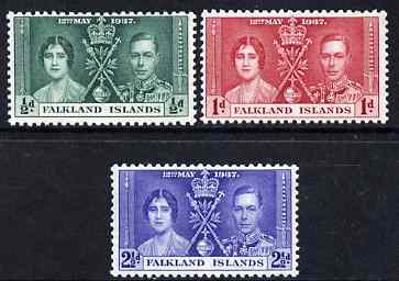 Falkland Islands 1937 KG6 Coronation perf set of 3 unmounted mint, SG 143-45