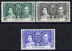 Gibraltar 1937 KG6 Coronation perf set of 3 unmounted mint, SG 118-20