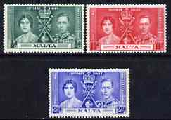 Malta 1937 KG6 Coronation perf set of 3 unmounted mint, SG 214-16