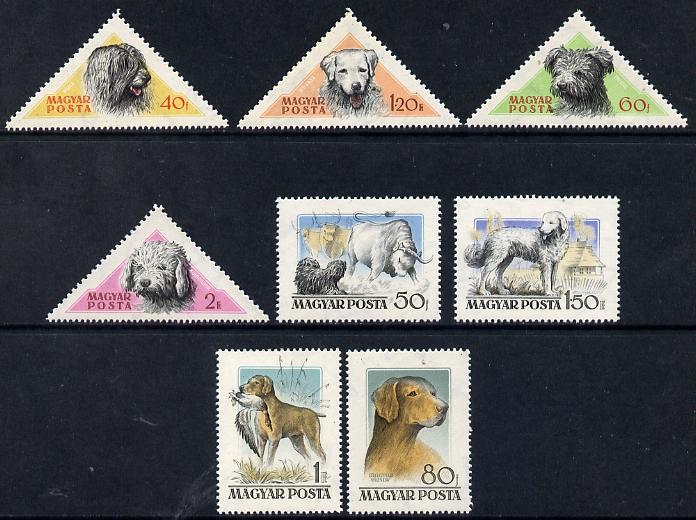 Hungary 1956 Hungarian Dogs set of 8 (4 rectangular & 4 triangular) unmounted mint SG 1448-55