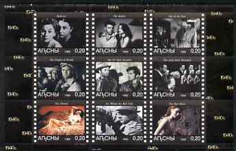 Abkhazia 1999 Movies from the 1940's perf sheetlet containing 9 values unmounted mint (Burt Lancaster, Henry Fonda, Orson Wells, etc)