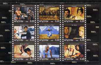 Abkhazia 1999 Movies from the 1960's perf sheetlet containing 9 values unmounted mint (Taylor & Burton, Marilyn, Kirk Douglas, etc)