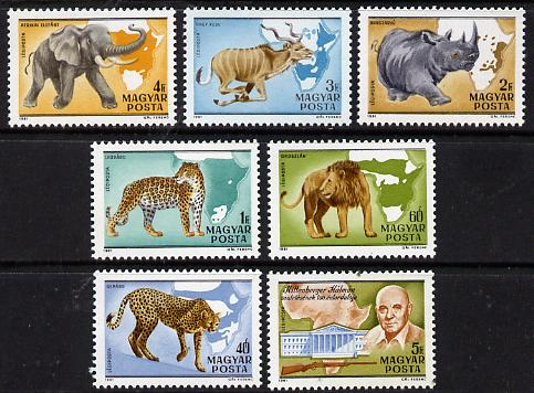 Hungary 1981 Kalman Kittenberger (Explorer & Zoologist) set of 7 (Elephant, Lion) SG 3359-65
