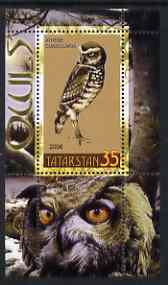 Tatarstan Republic 2006 Owls perf m/sheet #3 unmounted mint, stamps on birds, stamps on birds of prey, stamps on owls