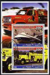 Djibouti 2006 Concorde & General Motors FT1 Fire Truck perf sheetlet containing 2 values cto used