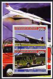 Djibouti 2006 Concorde & Spartan/Darley Pumper Fire Truck perf sheetlet containing 2 values cto used