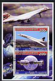 Djibouti 2006 Concorde & Apollo-Soyuz perf sheetlet containing 2 values cto used