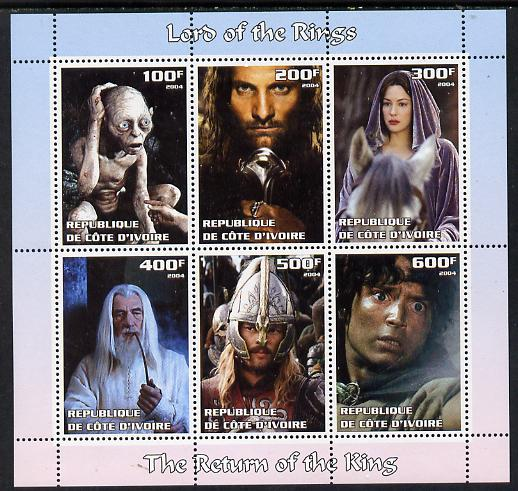 Ivory Coast 2004 The Lord of the Rings - The Return of the King perf sheetlet containing set of 6 values unmounted mint